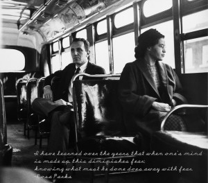 Rosa Parks seated in the bus (cc) kriddick1908